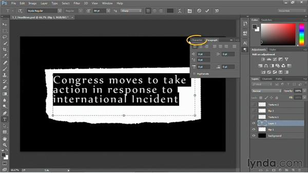 Creating a torn-from-a-printed-page graphic: Motion Graphics for Video Editors: Working with Type