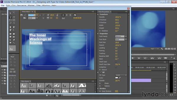Creating a title: Motion Graphics for Video Editors: Working with Type