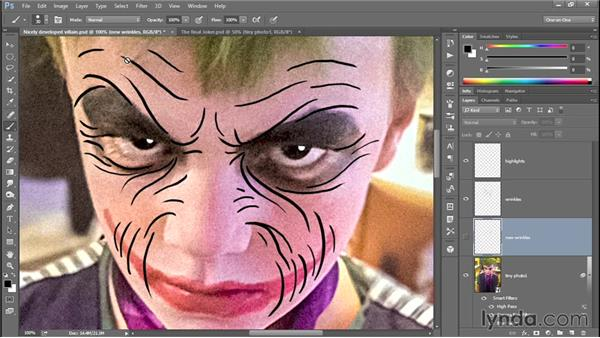 364 Carving expression lines into The Joker's face: Deke's Techniques