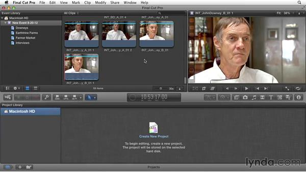 Importing footage: Documentary Editing with Final Cut Pro X v10.1.x