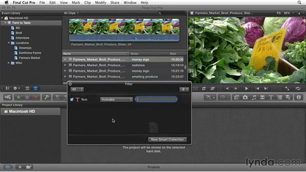 Filtering and searching for clips: Documentary Editing with Final Cut Pro X v10.1.x