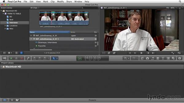 Make preliminary editing decisions: Documentary Editing with Final Cut Pro X v10.1.x