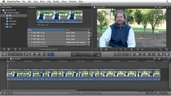 Creating mini-storylines to contain groups of clips: Documentary Editing with Final Cut Pro X v10.1.x
