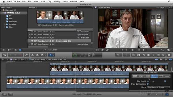 Syncing audio tracks from two different cameras: Documentary Editing with Final Cut Pro X v10.1.x