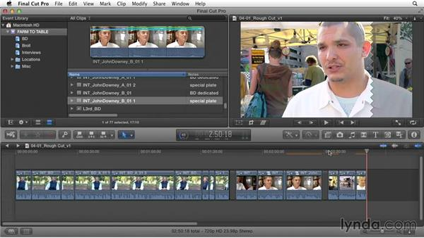 Combining primary story segments into a primary storyline: Documentary Editing with Final Cut Pro X v10.1.x