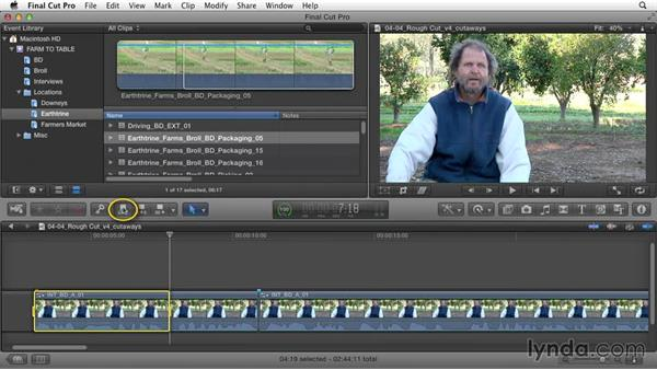 Adding cutaways from B-roll footage: Documentary Editing with Final Cut Pro X v10.1.x