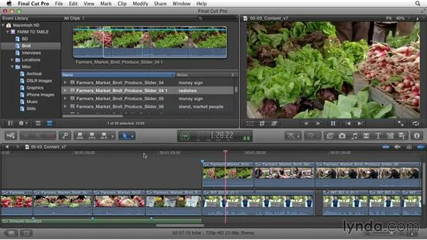 Smoothing the project's story content: Documentary Editing with Final Cut Pro X v10.1.x