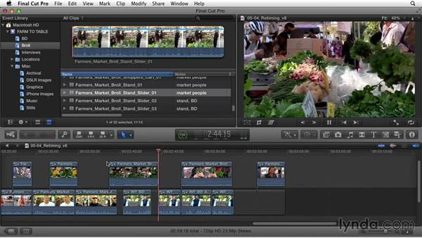 Retiming clips: Documentary Editing with Final Cut Pro X v10.1.x