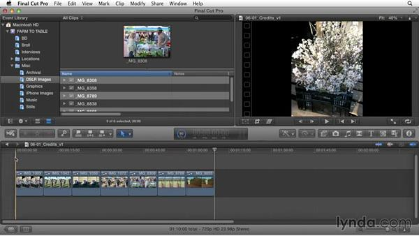 Editing still images or creating a montage: Documentary Editing with Final Cut Pro X v10.1.x
