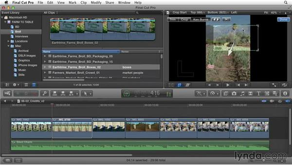 Animating still images: Documentary Editing with Final Cut Pro X v10.1.x