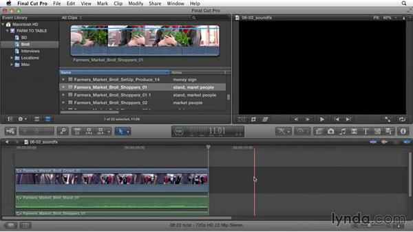 Incorporating sound effects: Documentary Editing with Final Cut Pro X v10.1.x