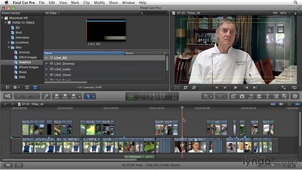 Adding titles and lower thirds: Documentary Editing with Final Cut Pro X v10.1.x