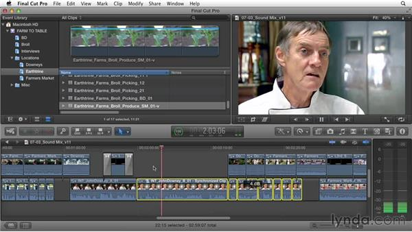 Combining and mixing sound sources: Documentary Editing with Final Cut Pro X v10.1.x