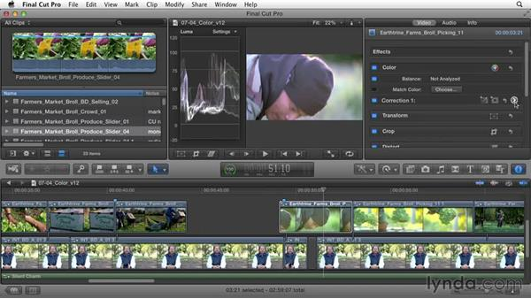 Matching and correcting color in clips: Documentary Editing with Final Cut Pro X v10.1.x