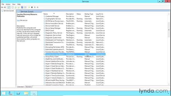 Enabling network discovery and file and print sharing: Configuring Basic Microsoft Services