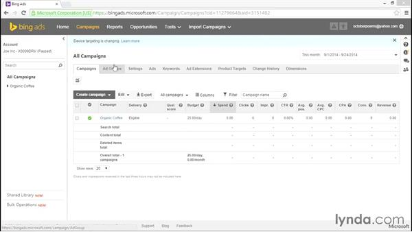 Interface changes: Bing Ads Essential Training