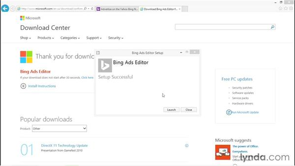 Downloading Bing Ads Editor: Bing Ads Essential Training