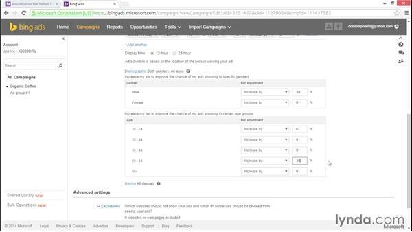 Choosing campaign settings: Bing Ads Essential Training
