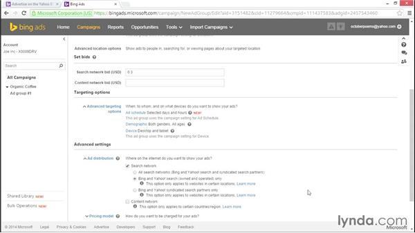 Choosing ad group settings: Bing Ads Essential Training