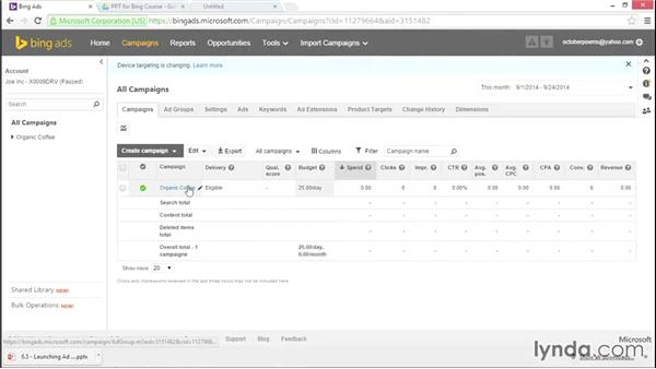 Adding negative keywords: Bing Ads Essential Training