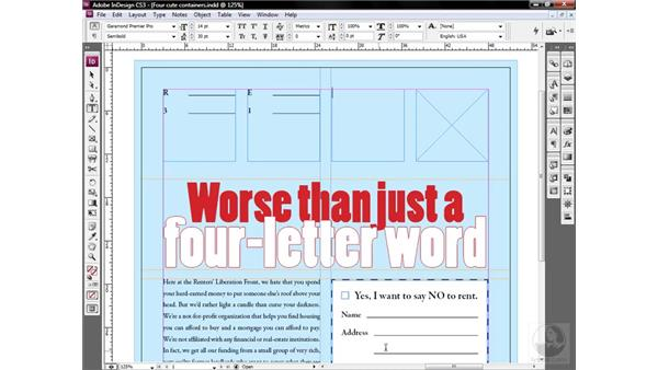 Adding text; removing style: InDesign CS3 One-on-One: Style Sheets