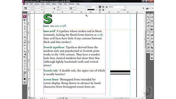 Viewing frames and threads: InDesign CS3 One-on-One: Style Sheets