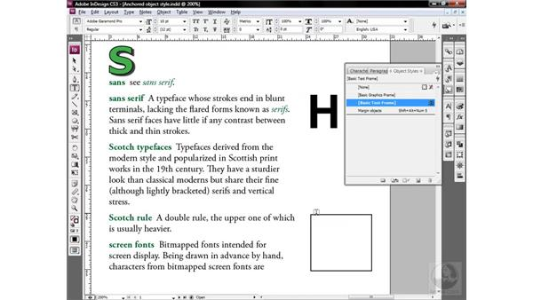 Establishing anchored object defaults: InDesign CS3 One-on-One: Style Sheets