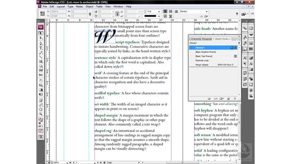 The best way to anchor objects: InDesign CS3 One-on-One: Style Sheets