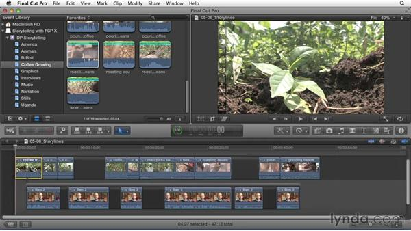 Organizing separate story segments into independent storylines: Effective Storytelling with Final Cut Pro X v10.1.x