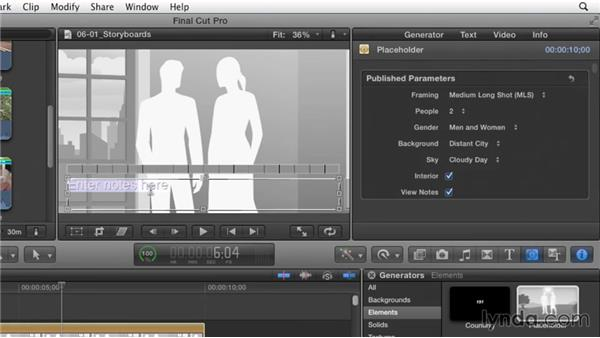 Storyboarding a narrative script using placeholders: Effective Storytelling with Final Cut Pro X v10.1.x