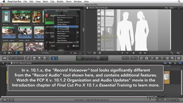 Recording a narration track to explore script ideas: Effective Storytelling with Final Cut Pro X v10.1.x