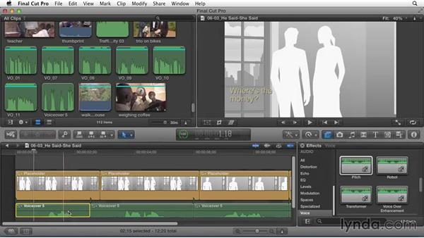 Changing pitch in a temporary narration track to identify different characters: Effective Storytelling with Final Cut Pro X v10.1.x