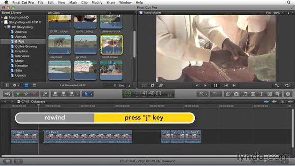 Embellishing the story with cutaways to B-roll footage: Effective Storytelling with Final Cut Pro X v10.1.x