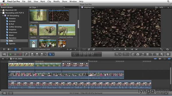Editing and arranging a still-image storyline: Effective Storytelling with Final Cut Pro X v10.1.x
