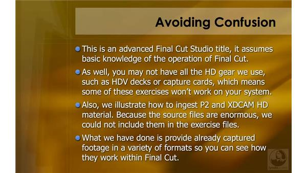 Avoiding confusion when using the exercise files: HD Workflows with Final Cut Studio 2