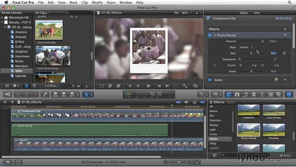 Applying effects to enhance story elements: Effective Storytelling with Final Cut Pro X v10.1.x
