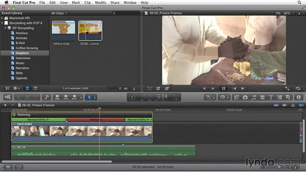 Adding freeze frames to end or start sections: Effective Storytelling with Final Cut Pro X v10.1.x