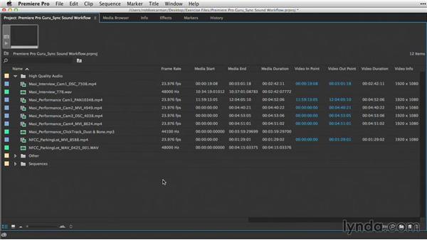 Organizing audio and video with bins: Premiere Pro Guru: Sync Sound Workflow