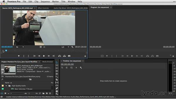 Creating sync points with in and out points or markers: Premiere Pro Guru: Sync Sound Workflow