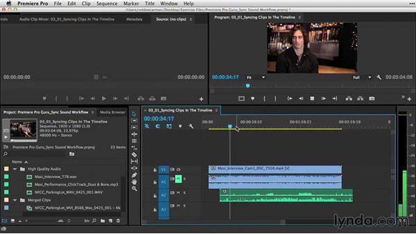Syncing clips manually in the Timeline: Premiere Pro Guru: Sync Sound Workflow