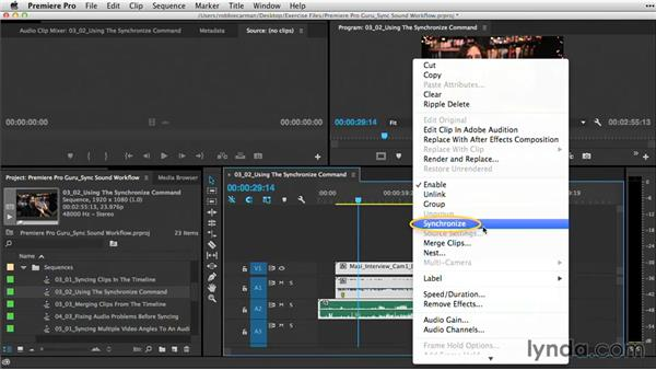 Using the Synchronize command: Premiere Pro Guru: Sync Sound Workflow