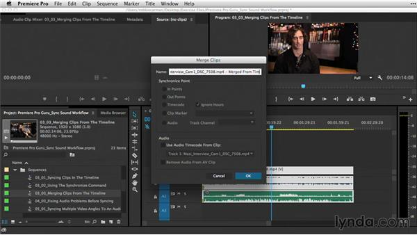 Merging clips from the Timeline: Premiere Pro Guru: Sync Sound Workflow