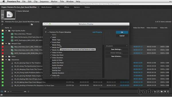 Examining metadata for merged clips: Premiere Pro Guru: Sync Sound Workflow