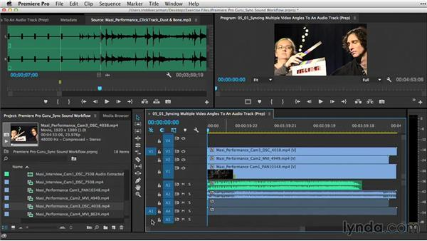 Syncing multiple video angles to an audio track: Premiere Pro Guru: Sync Sound Workflow