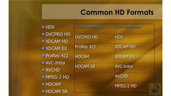 Common HD formats: HD Workflows with Final Cut Studio 2
