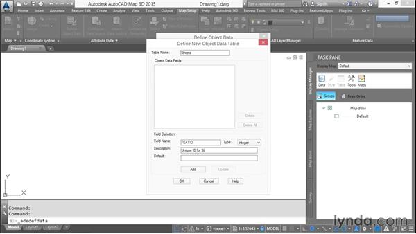 Creating object data definitions: AutoCAD Map 3D Essential Training