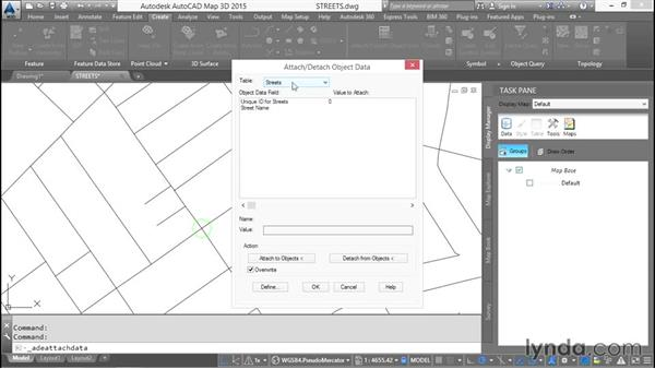 Attaching object data to AutoCAD objects: AutoCAD Map 3D Essential Training