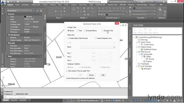 Linking databases to AutoCAD objects: AutoCAD Map 3D Essential Training