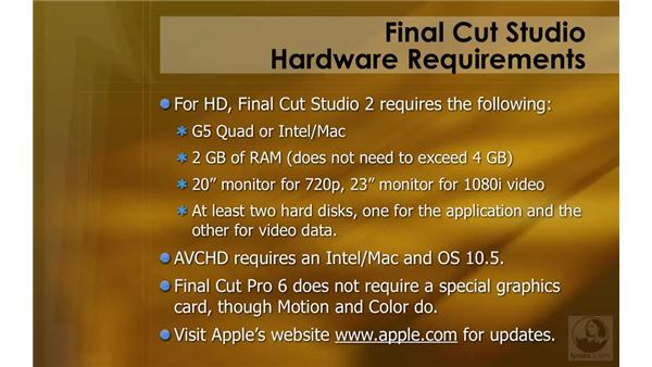 Final Cut Studio requirements: HD Workflows with Final Cut Studio 2