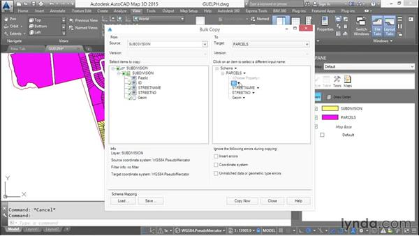 Bulk copying between GIS data sources: AutoCAD Map 3D Essential Training